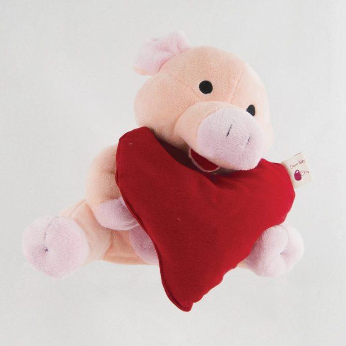 Cherry Belly Pig Cuddling Heart